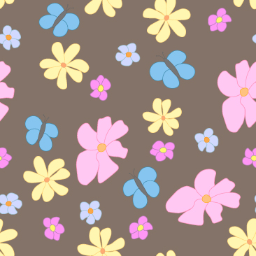 Spring Flowers and Butterflies on Brown  Background Small Tile Pattern