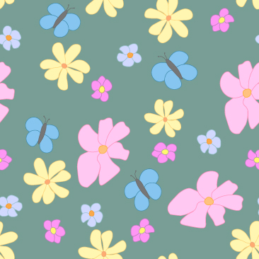 Spring Flowers and Butterflies on Green  Background Small Tile Pattern