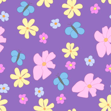 Spring Flowers and Butterflies on Lavender  Background Small Tile Pattern
