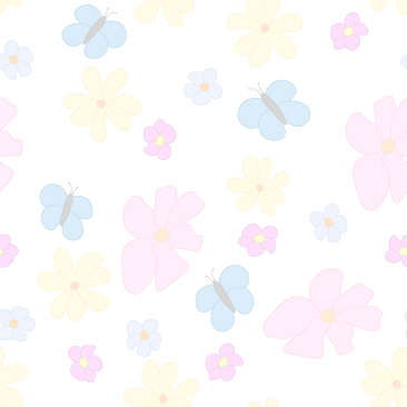 Spring Flowers and Butterflies Faded on White Background Small Tile Pattern