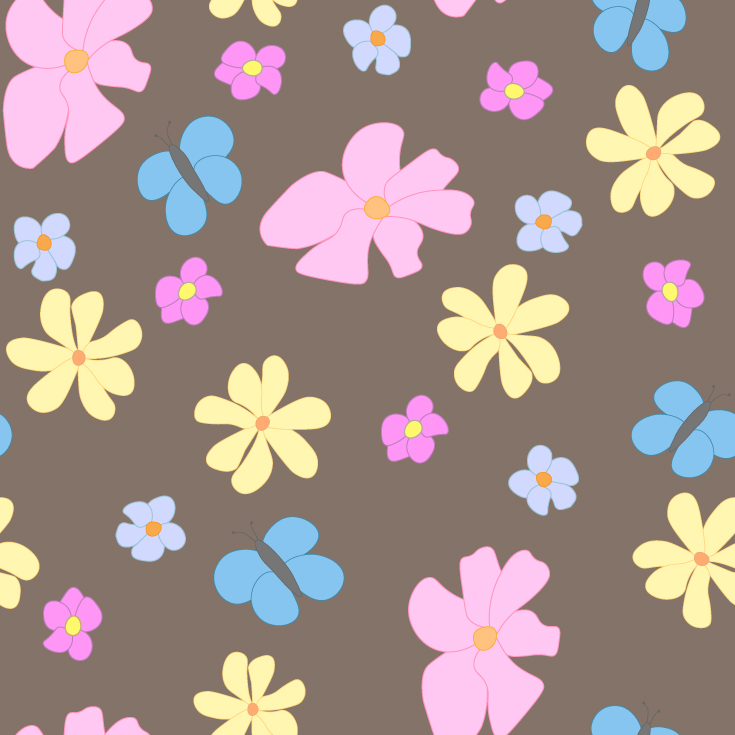Spring Flowers and Butterflies on Brown Background Large Tile Pattern