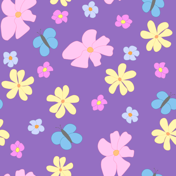 Spring Flowers and Butterflies on Lavender Background Large Tile Pattern