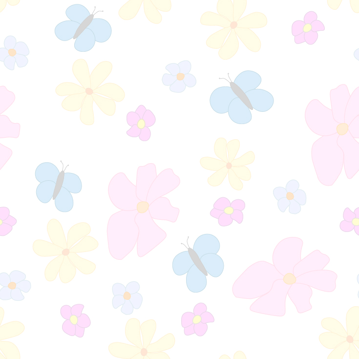 Spring Flowers and Butterflies Faded on White Background Large Tile Pattern