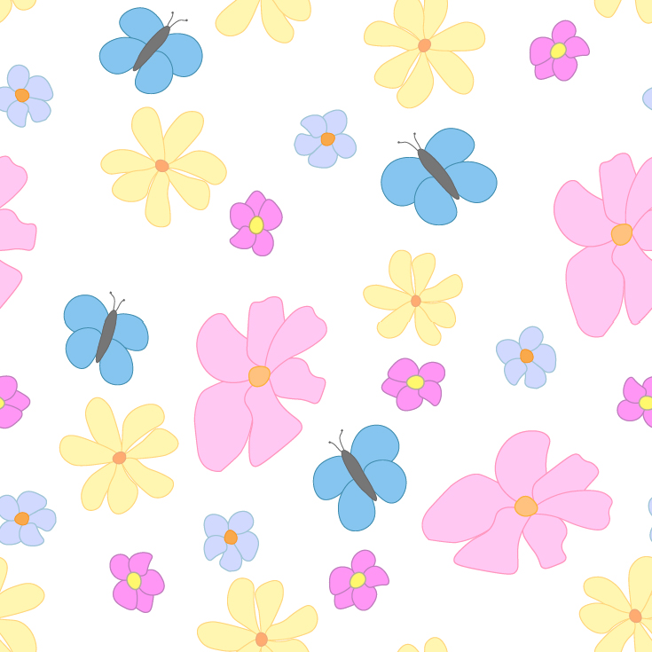 Spring Flowers and Butterflies on White Background Large Tile Pattern
